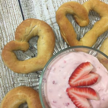Homemade Heart Shaped Soft Pretzels & Sweet Strawberry Dip for Valentine's Day!