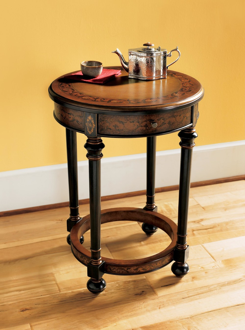 Wonderful All Wood Accent Table; The Design Has A Round Top, Straight Turned Legs  That Are Attached To A Decorated Circular Support Finished At The Bottom  With Bun ...