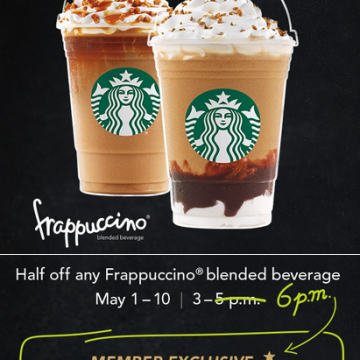 Starbucks Frappuccino Happy Hour Starts Tomorrow Friday, May 1